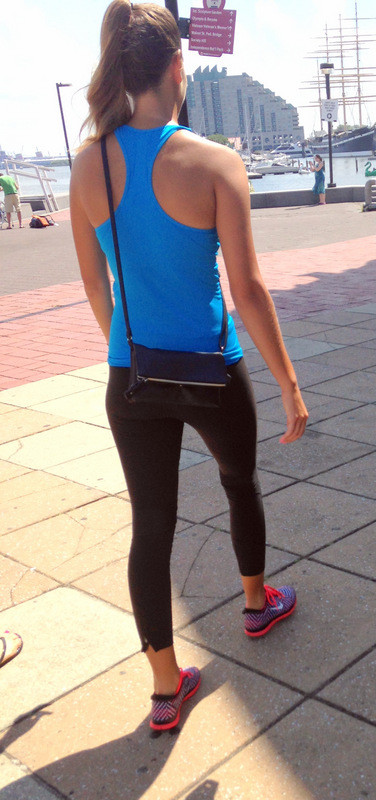 pretty babe in blue top & black leggings
