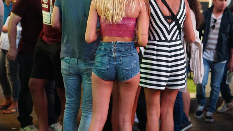 pretty female ass in denim shorts
