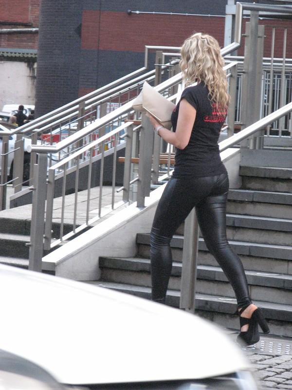 curly blonde in wetlook legging