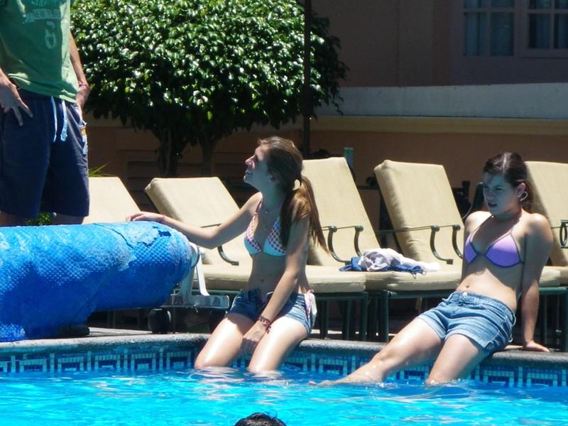 swimming pool girls in denim shorts & bikini bra