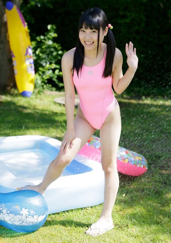lovely japan teen Noa Naraoka in pink arena swimsuit