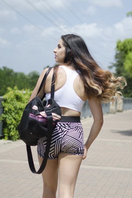 brunette chick in candid yogashorts