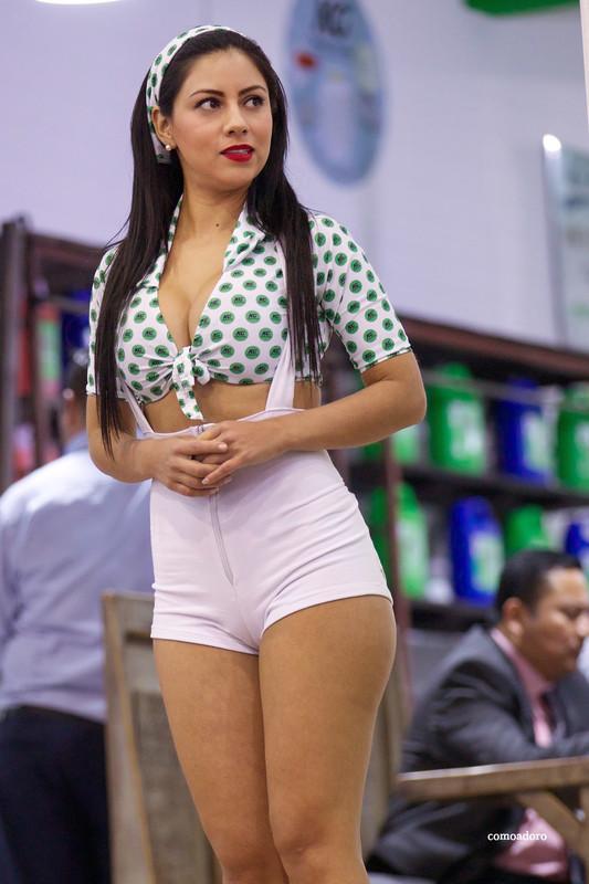 leggy promo girl in kinky shorts
