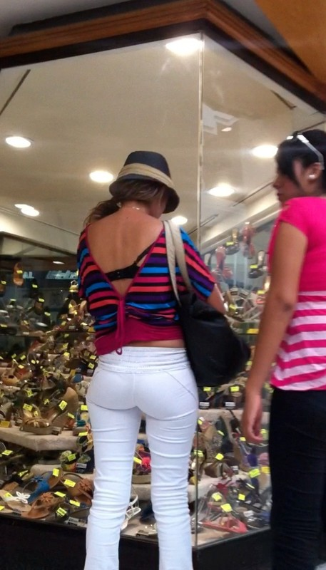 lovely milf ass in tight white pants