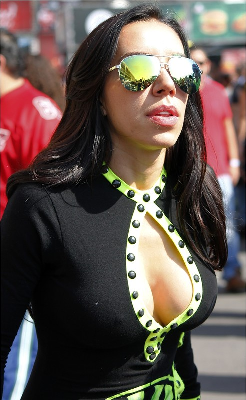 hispanic chick in sexy lycra outfit