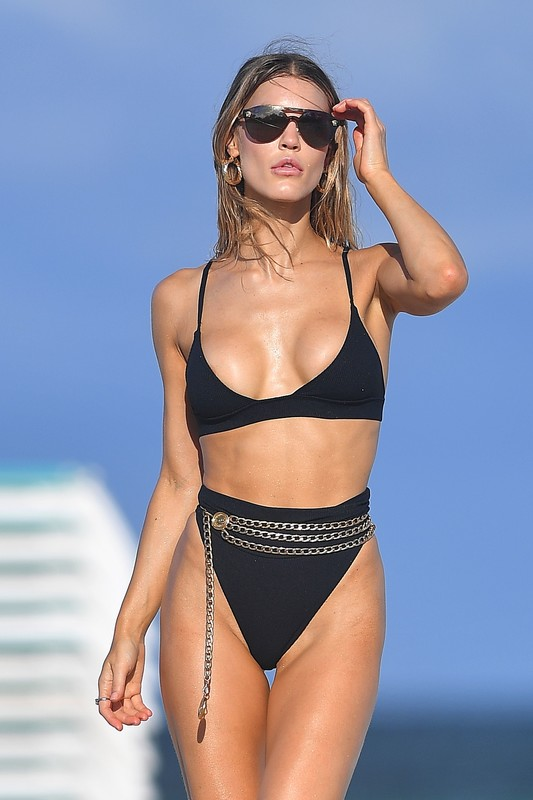 gorgeous babe Joy Corrigan in black bikini