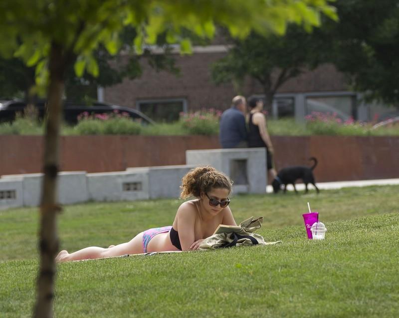 park sunbather lady in bikini