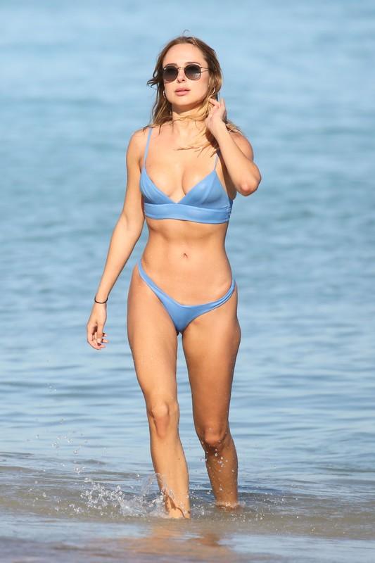 gorgeous Kimberley Garner in wet blue bikini