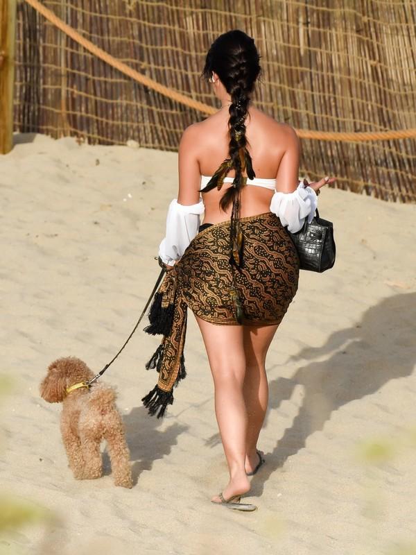 dog walker lady Demi Rose in sexy bikini