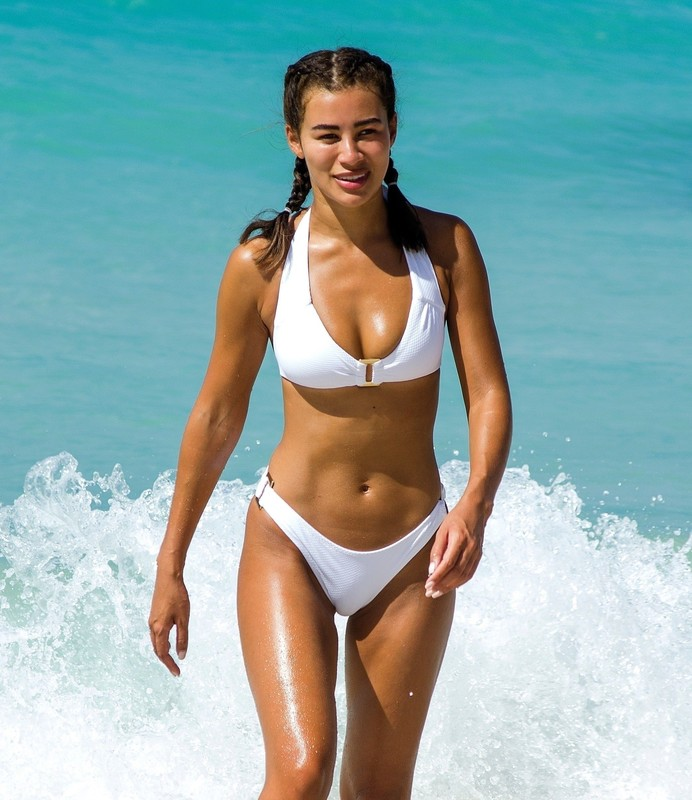 cheerful lady Montana Brown in white bikini