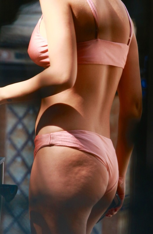 gorgeous babe Chantel Jeffries seen in sexy peach bikini