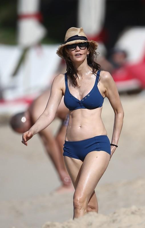attractive milf Nancy Shevell in sexy navy blue bikini
