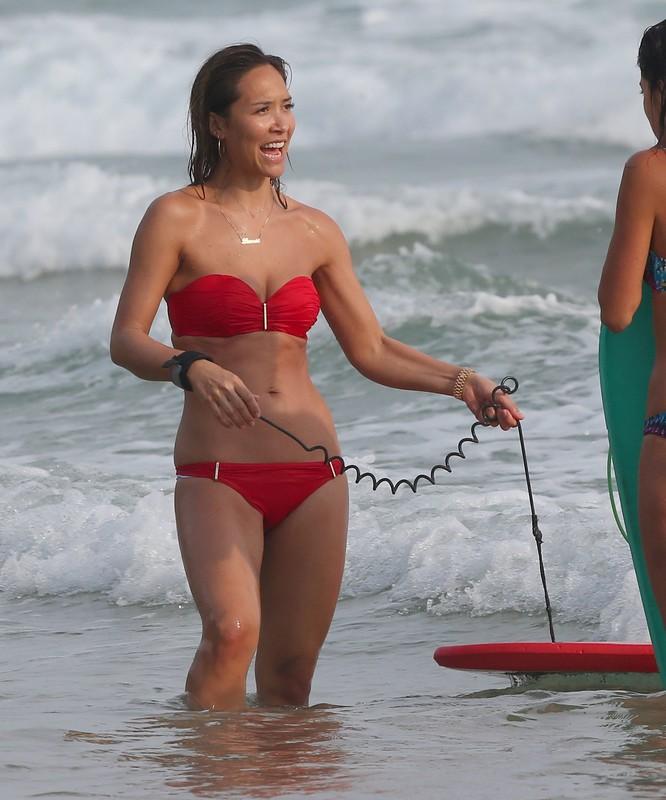 charming babe Myleene Klass in red bikini