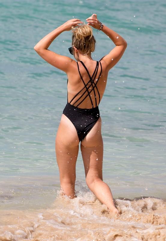 skinny babe Tallia Storm in black swimsuit