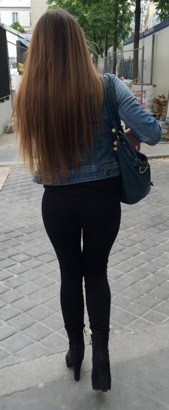 leggy babe in black spandex pants