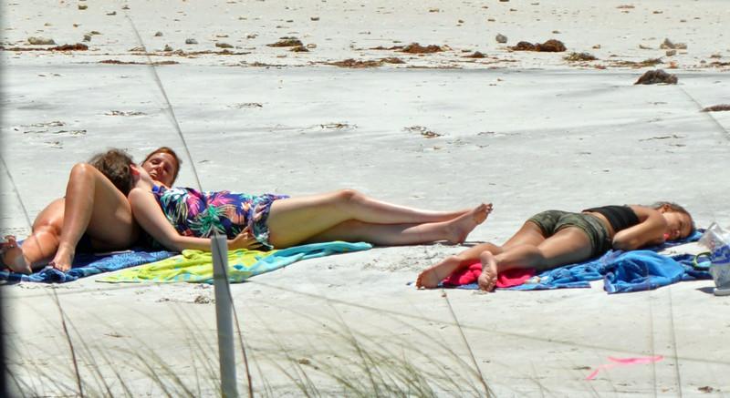 bikini girls catching rays