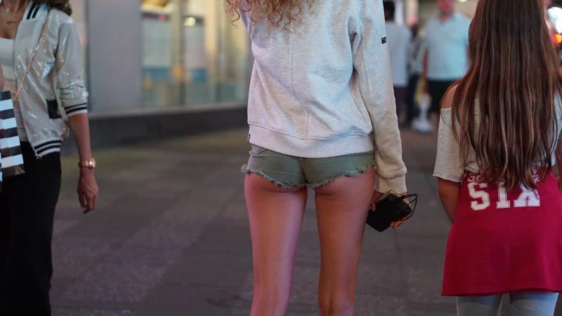 leggy babe in green denim shorts