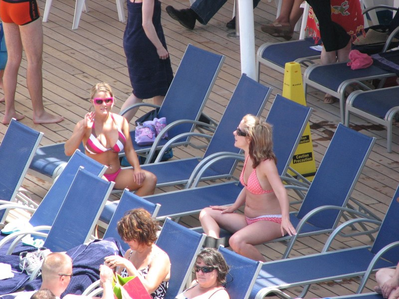 hot babes on cruise ship deck
