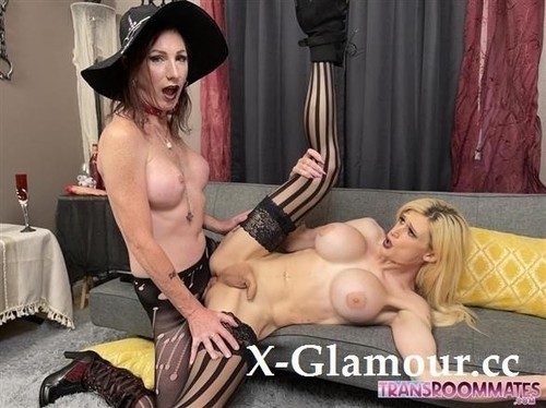 Aphrodite Adams, Jean Jezebel - Busty Halloween Trans Witch Gets Spanking And Bareback Sex Gallery (FullHD)